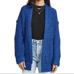 Free People Forever Blue Combo Knit Cardigan M